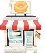 A vector illustration of a cartoon retail Donut shop.