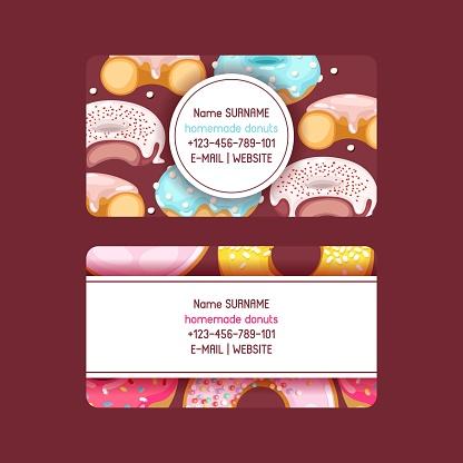 Donut vector doughnut business card food glazed sweet dessert wi