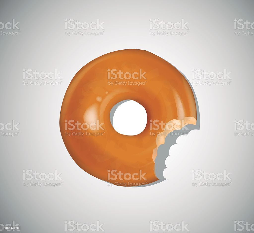 Donut with a bite isolated on light background vector art illustration