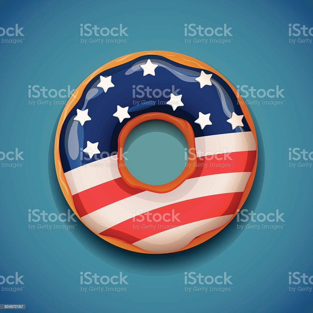 Donut with flag of USA vector art illustration