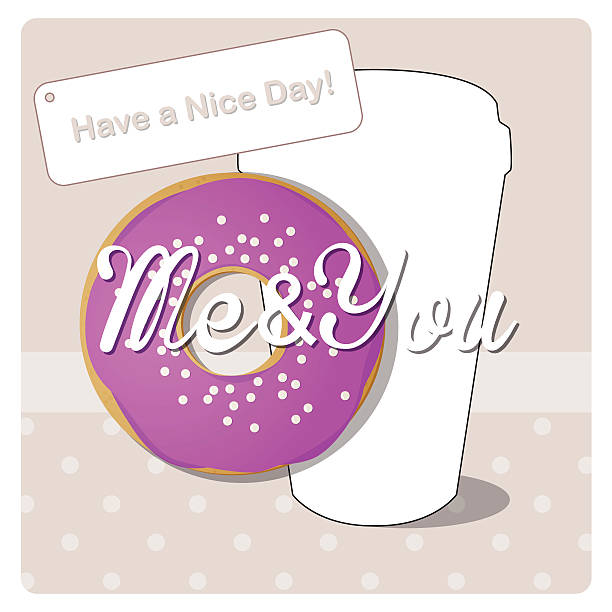 donut with icing and sprinkles and a cup of coffee have a nice day have a nice day note stock illustrations