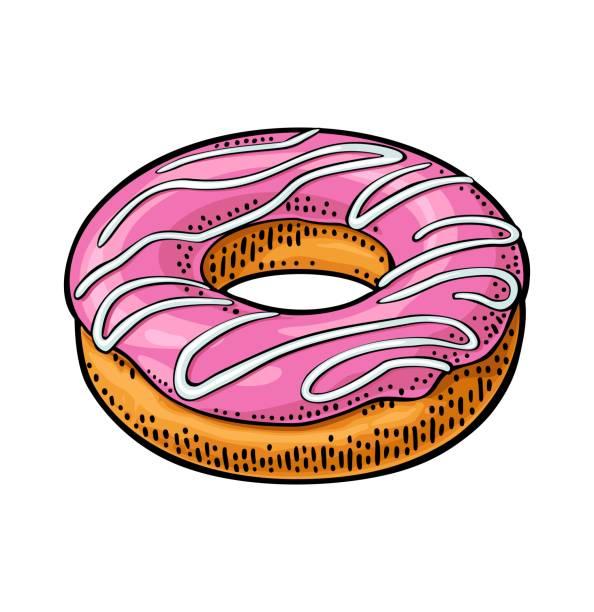 stockillustraties, clipart, cartoons en iconen met donut met roze suikerglazuur en witte strepen. vector kleur gravure - eetklaar