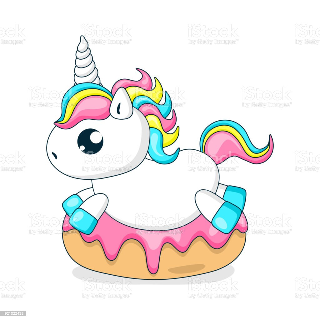 Donuts And A Cute Little Unicorn Stock Illustration ...