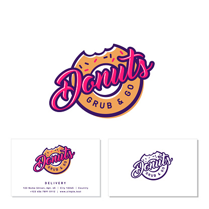 Donuts and Coffee sign. Cafe or bakery emblem. Bitten Donut with small candies and letters.