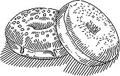 Line drawing of Donuts. Elements are grouped.contains eps10 and high resolution jpeg.
