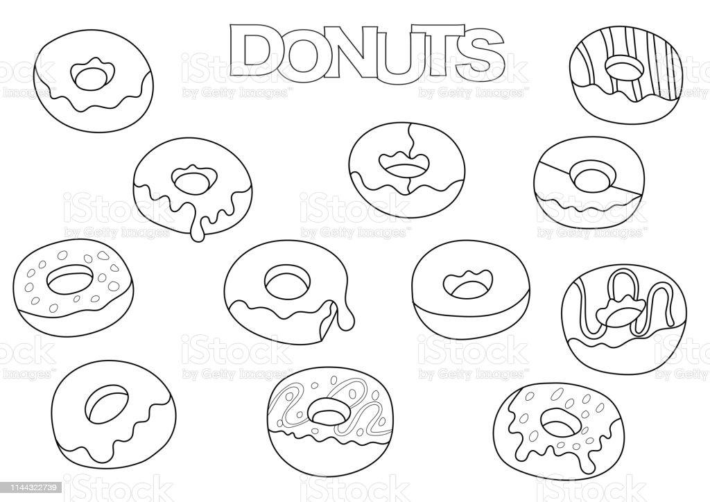 Ilustración De Donuts Elementos Dibujados A Mano Libro Para