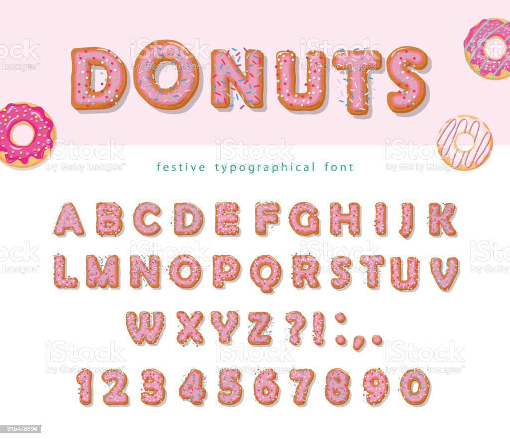 Donuts hand drawn decorative font. Cartoon sweet letters and numbers. Cute design for girls. Birthday party celebration. vector art illustration
