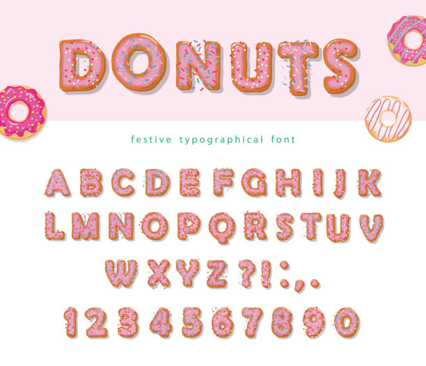 ilustrações de stock, clip art, desenhos animados e ícones de donuts hand drawn decorative font. cartoon sweet letters and numbers. cute design for girls. birthday party celebration. - bolo de bolacha
