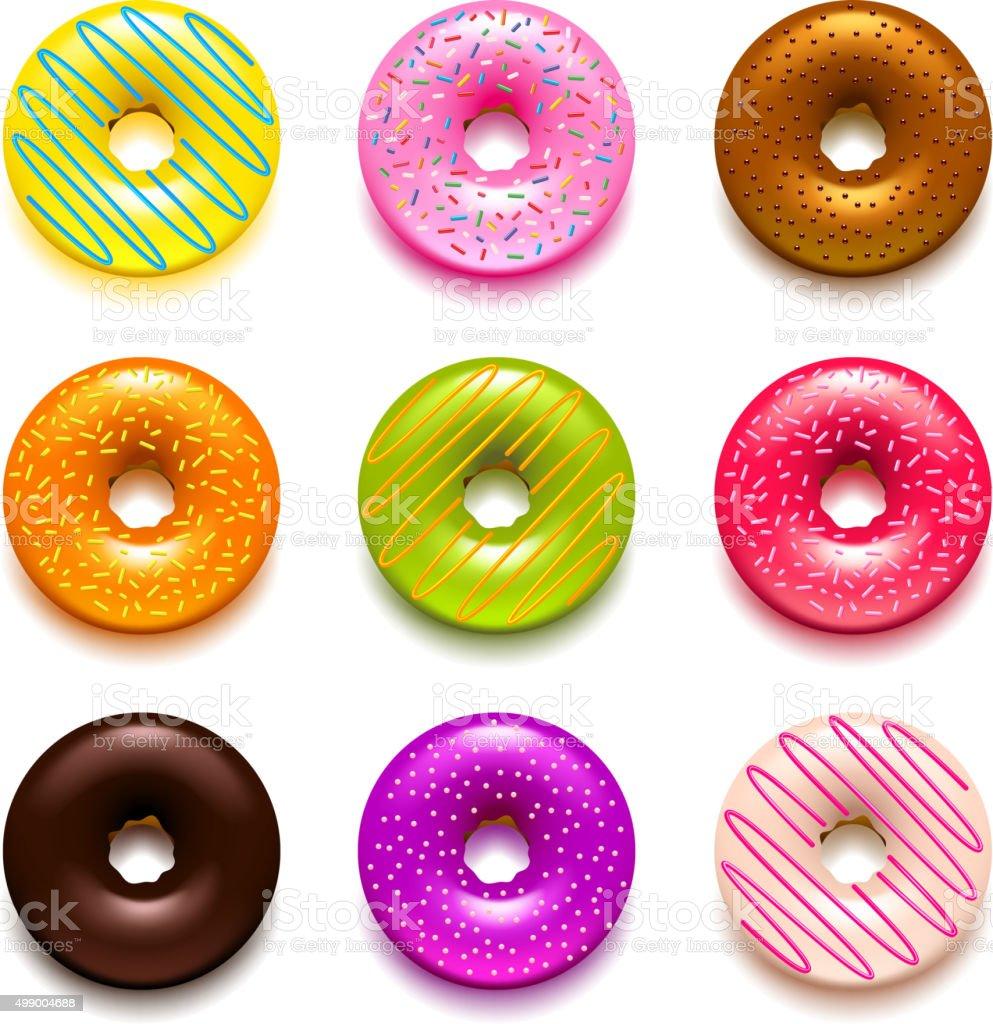 Donuts icons vector set vector art illustration