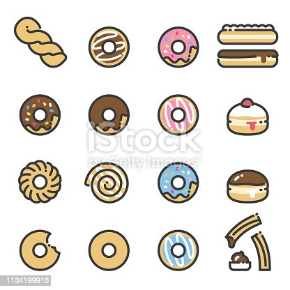 Line art icons of donuts. All kinds of donuts, chocolate, strawberry, iced, frosted, jelly, twists, french crullers, glazed and cinnamon roll.