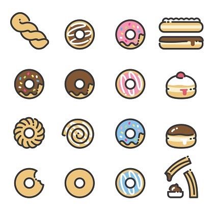 Donuts - line art icons