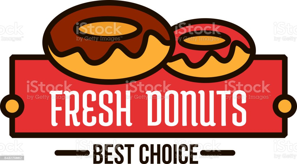 Donuts Linear Symbol For Cafe And Bakery Design Stock Vector Art
