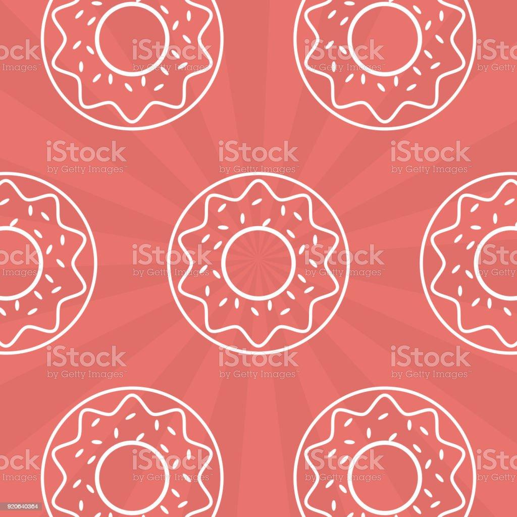 Donuts pink background vector art illustration