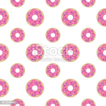 Vector seamless pattern of donuts with pink icing and sprinkles.