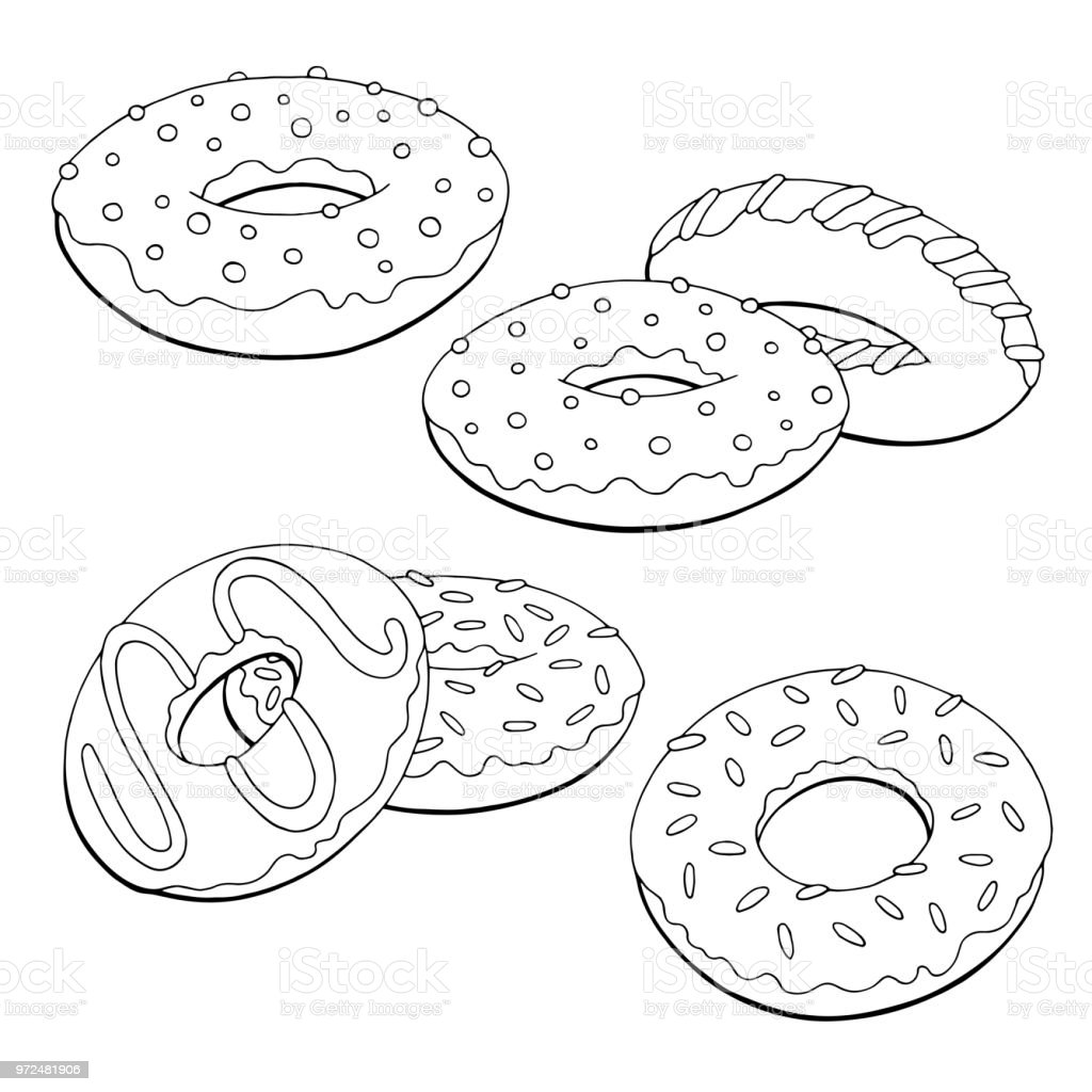 donuts set graphic black white isolated sketch illustration vector