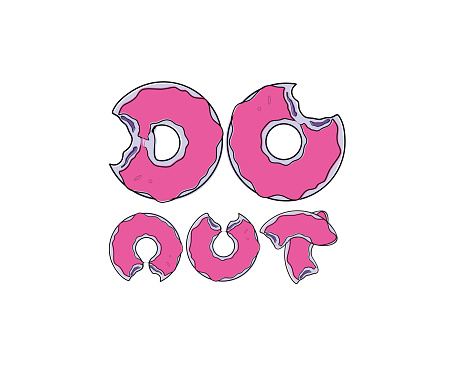 Donuts text typography on white background in vector illustration