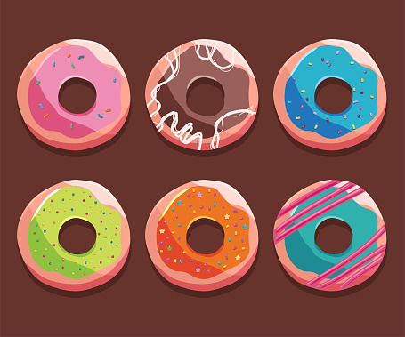 Donuts vector cartoon set isolated on background.