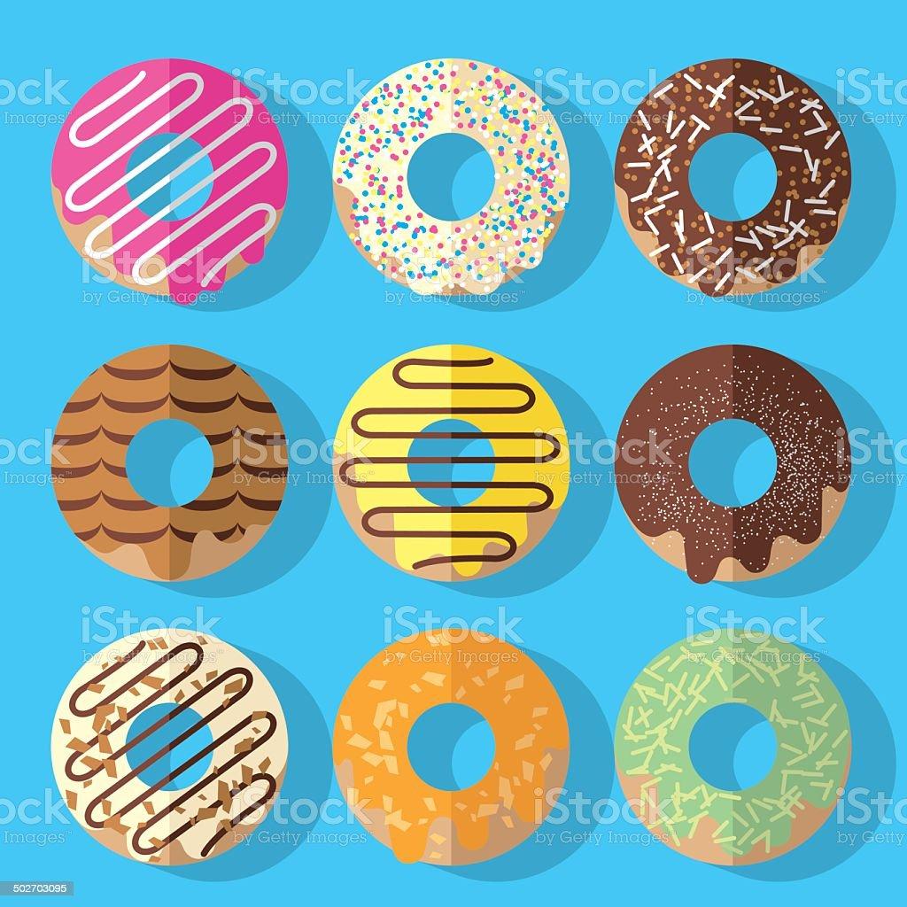 Donuts vector art illustration