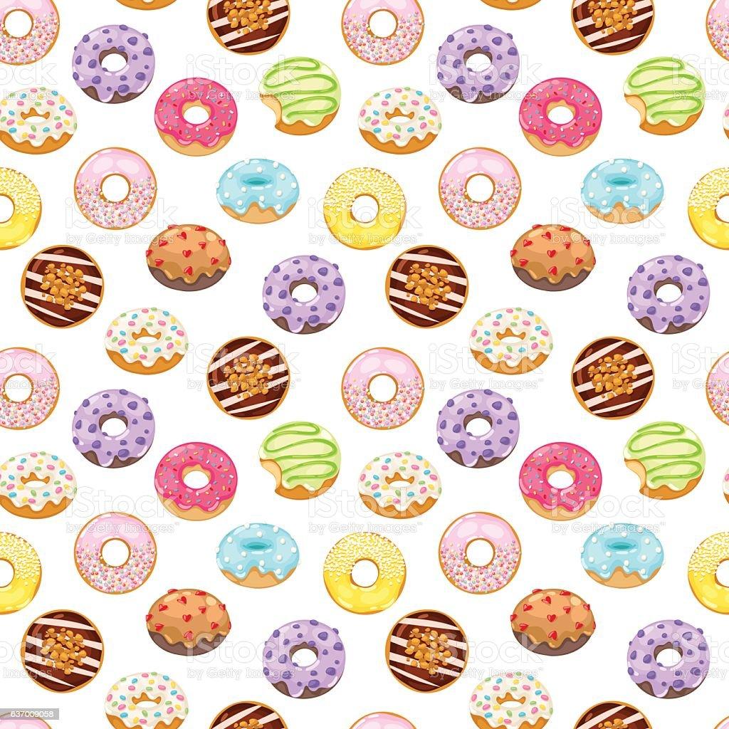 Donuts vector seamless pattern vector art illustration