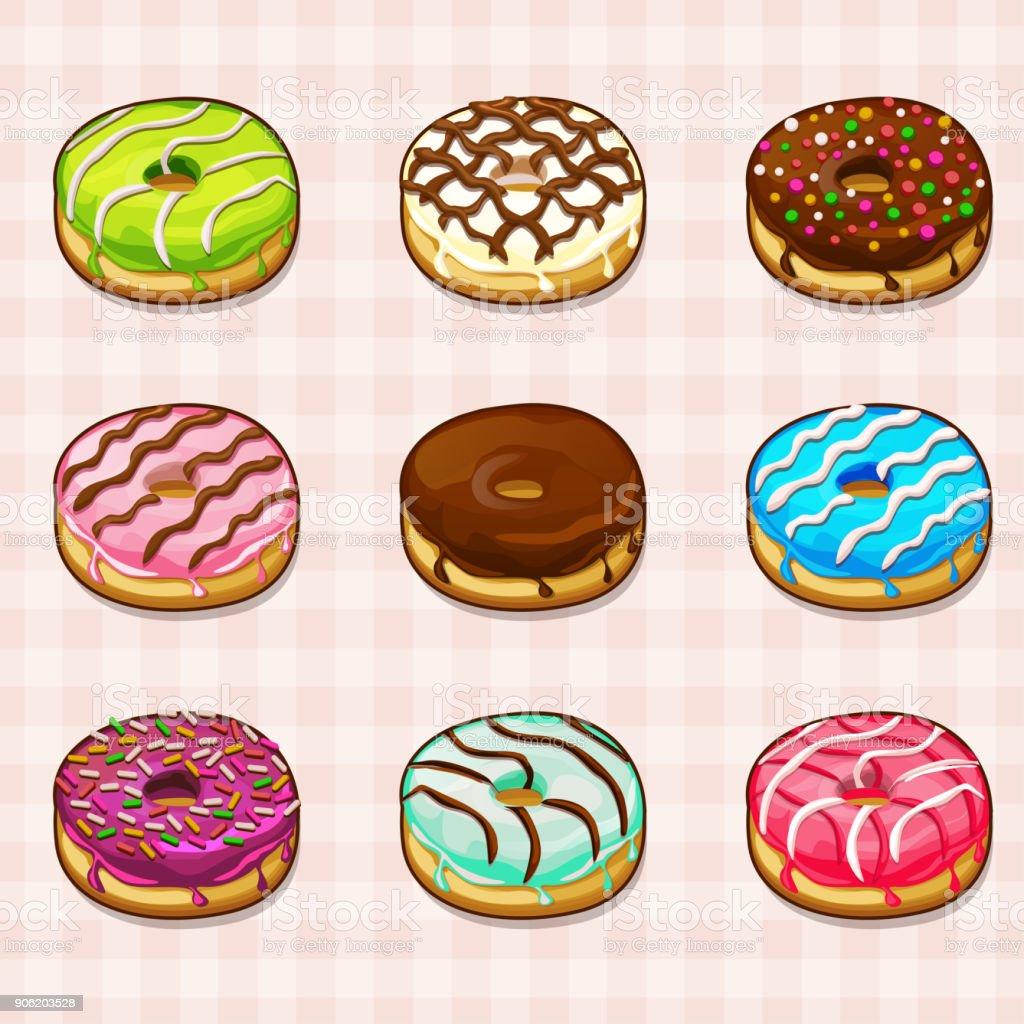 donuts with different fillings and colored frostings vector art illustration