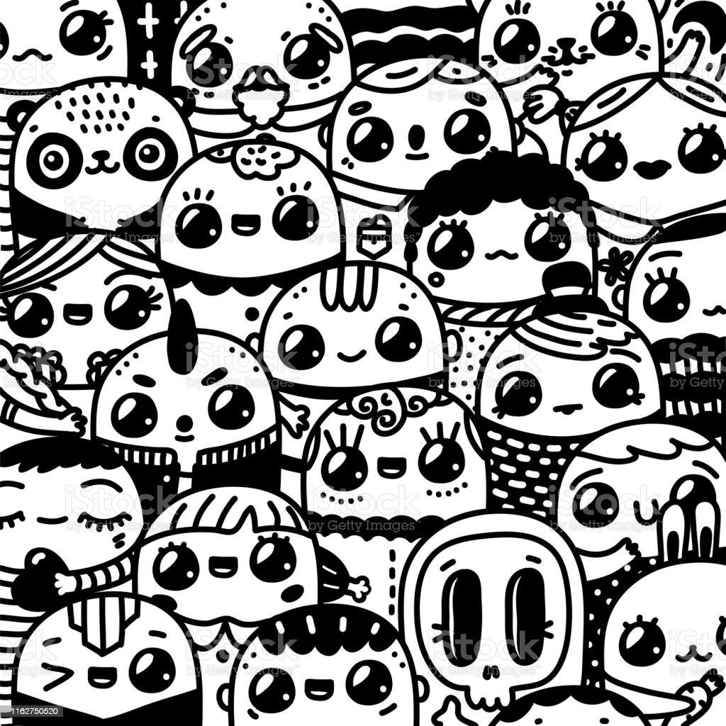 Doodl Kawaiicartoonfiguren Hand Gezeichnete Kunst Lustige Menschen