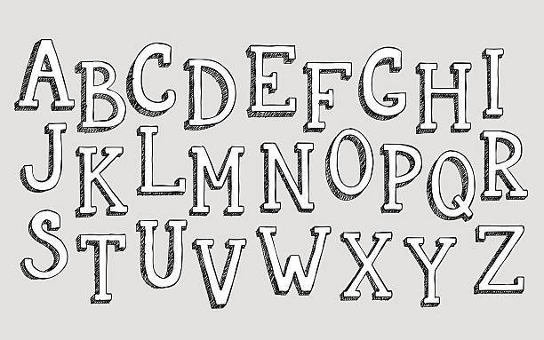 Doodle 3d alphabet Doodle 3d alphabet, vector simple hand drawn letters textured with pencil doodles. Decorative font for books, posters, postcard, web hand drawn style typography. alphabet drawings stock illustrations