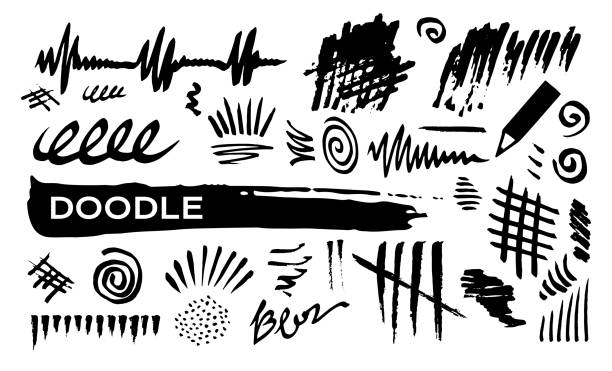 doodle abstract lines - squiggle line stock illustrations
