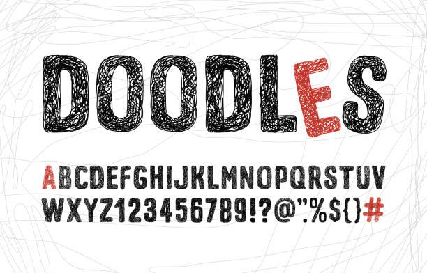 ilustraciones, imágenes clip art, dibujos animados e iconos de stock de ilustración del alfabeto de garabatos. - font