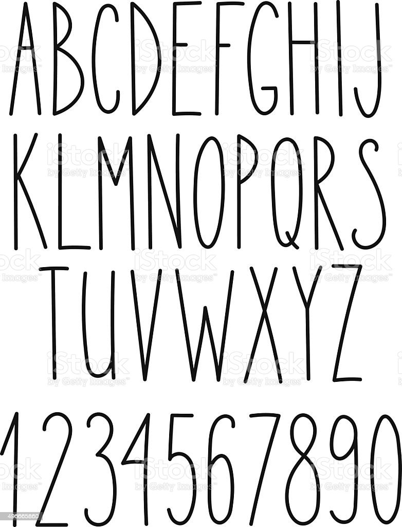Doodle alphabet, vector simple hand drawn letters vector art illustration