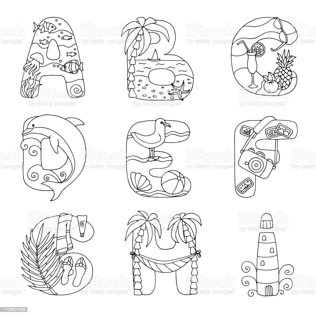 Alphabet De Griffonnage Avec Le Repos Sur La Mer De A À I Pour La Page De  Coloriage Vecteurs libres de droits et plus d'images vectorielles de  Aliment ...