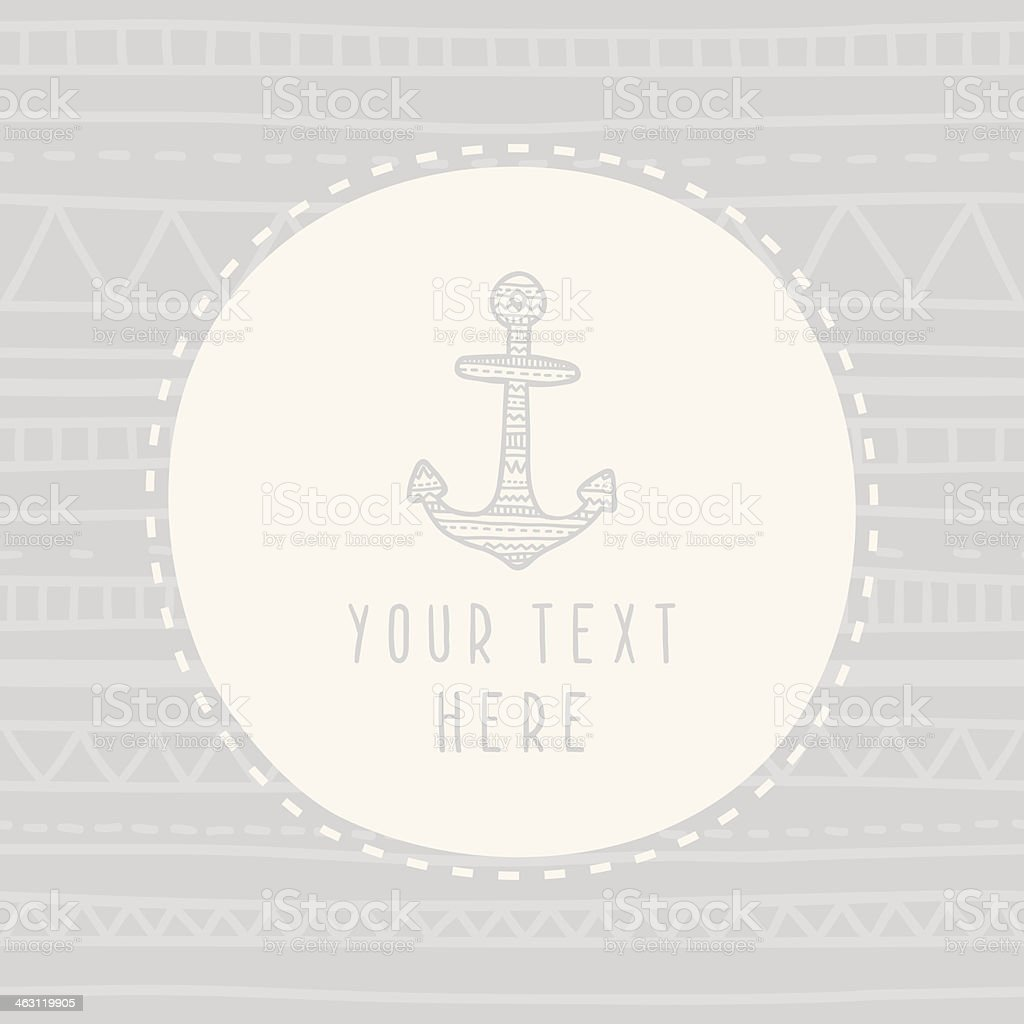 Doodle anchor greeting card template royalty-free stock vector art