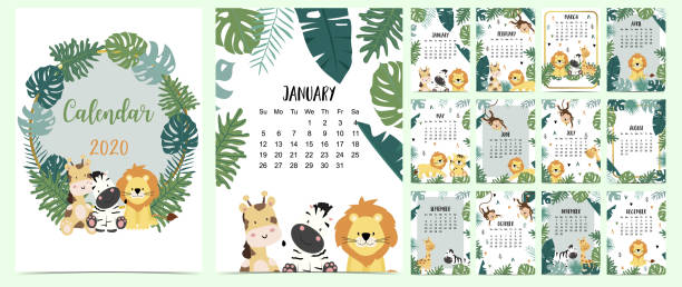 Doodle animal calendar set 2020 with gold geometric,safari,animal,leaves for children.Can be used for printable graphic.Editable element Doodle animal calendar set 2020 with gold geometric,safari,animal,leaves for children.Can be used for printable graphic.Editable element baby animals stock illustrations