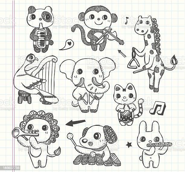 Doodle animal music band icons set vector id185607735?b=1&k=6&m=185607735&s=612x612&h=pgol2wukpchwsysvrj8fr xpjmi8celxsqki5qoel5m=