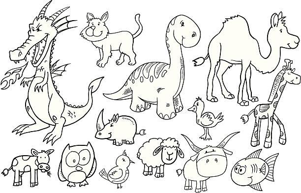 Doodle Animal Set vector art illustration