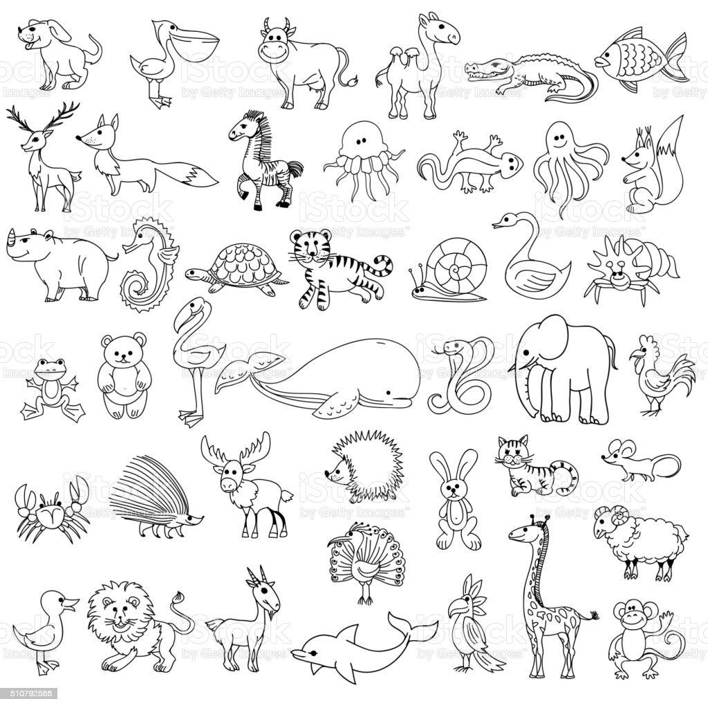 Ilustración de Animales Para Niños De Dibujo Garabato y más banco de ...