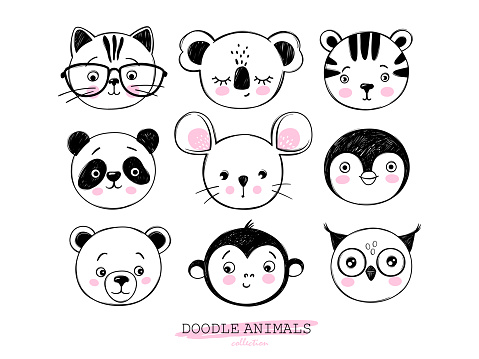 Doodle animals head vector set. Owl, cat, tiger, panda, bear, monkey, mouse, penguin, koala faces in sketch style. Funny faces. Cute children's illustrations