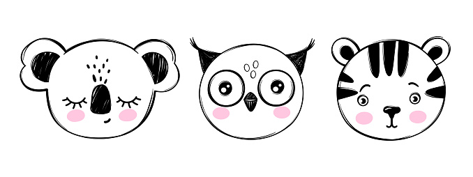 Doodle animals head vector set. Owl, koala bear, tiger faces in sketch style. Hand drawn cute children's illustrations