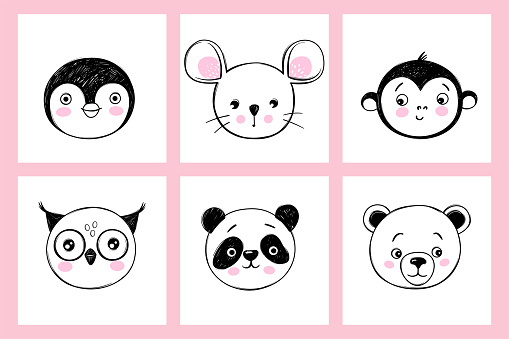 Doodle animals head vector set. Owl, panda, bear, monkey, mouse, penguin faces in sketch style. Funny faces. Cute children's illustrations
