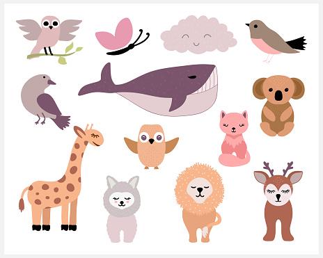 Doodle animals set icon isolated on white. Cartoon vector stock illustration. EPS 10