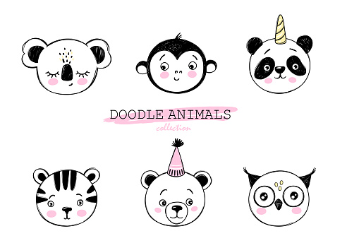 Doodle animals vector set. Owl, bear, monkey, panda unicorn, tiger, koala faces in sketch style. Funny characters. Hand drawn cute children's illustrations