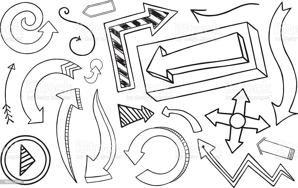Doodle Arrow Collection royalty-free stock vector art