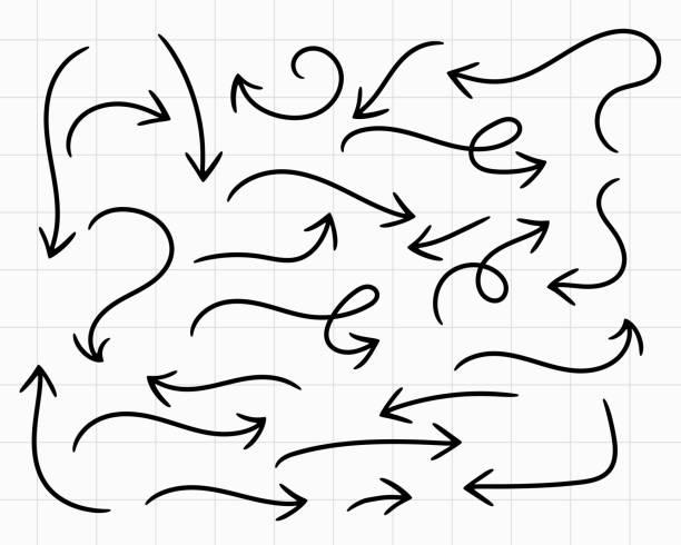 Doodle Pfeile handgezeichnet großes Set – Vektorgrafik
