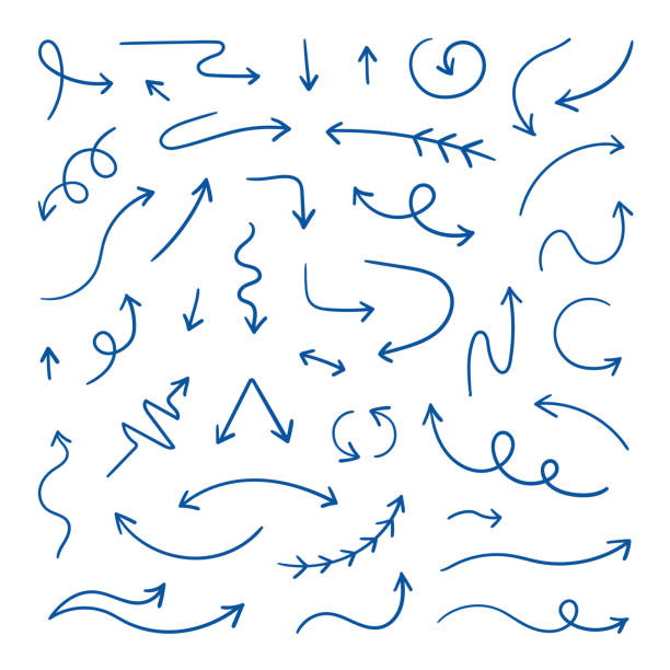 Doodle arrows. Linear hand drawn direction arrows, pen sketch design elements. Wavy loop line arrows. Vector doodle design elements Doodle arrows. Linear hand drawn direction arrows, pen sketch design elements. Wavy loop line arrows. Vector doodle design elements set arrows stock illustrations