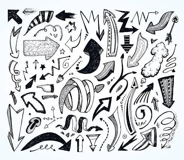 ilustraciones, imágenes clip art, dibujos animados e iconos de stock de doodle arrows. - marcos de garabatos y dibujados a mano