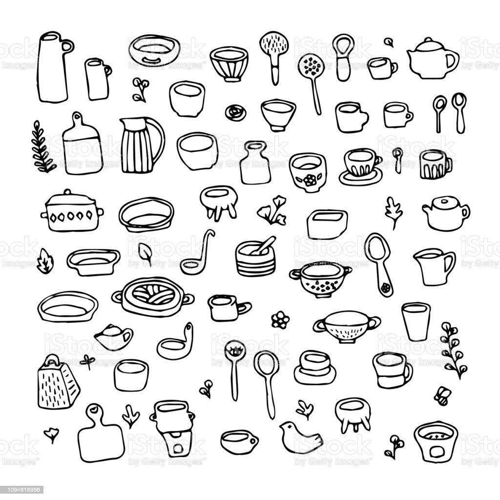 Kitchen Layout Design Tool Free: Doodle Art Design Element Tool Kitchen Pottery Ceramic