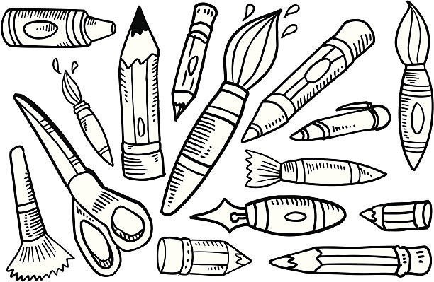 Doodle Art Supplies Set vector art illustration