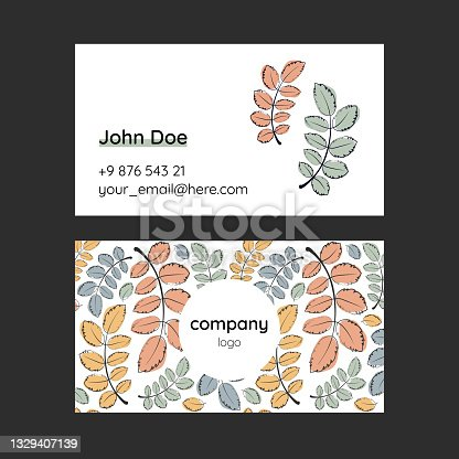 Doodle art template for business card with hand drawn autumn leaves. Delicate trendy colors, natural motif