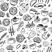 Doodle asian food seamless pattern. Japanese reastaurant cafe identity. Vector illustration.