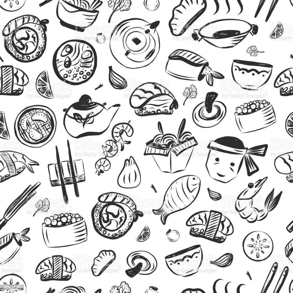 Modèle sans couture de Doodle cuisine asiatique. Reastaurant japonais café identité. Illustration vectorielle - Illustration vectorielle