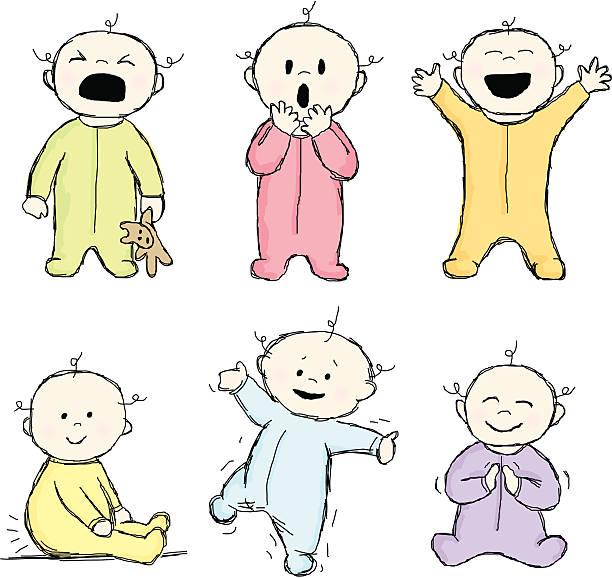 gekritzel babys - toddler stock-grafiken, -clipart, -cartoons und -symbole